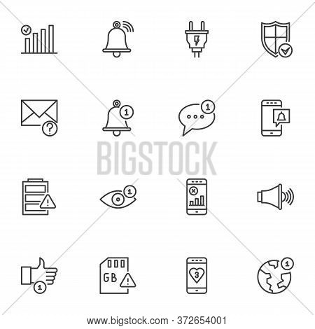Phone Notification Line Icons Set, Outline Vector Symbol Collection, Linear Style Pictogram Pack. Si
