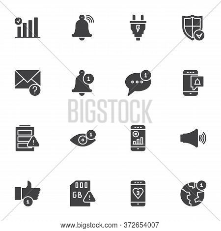Phone Notification Vector Icons Set, Modern Solid Symbol Collection, Filled Style Pictogram Pack. Si