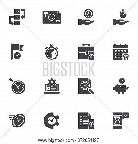 Time Management Vector Icons Set, Modern Solid Symbol Collection, Filled Style Pictogram Pack. Signs