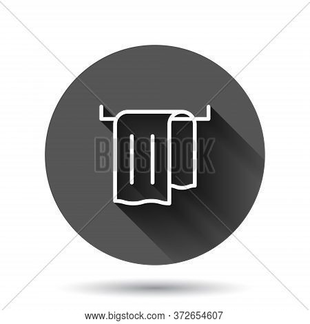 Bathroom Towel Icon In Flat Style. Washcloth Vector Illustration On Black Round Background With Long