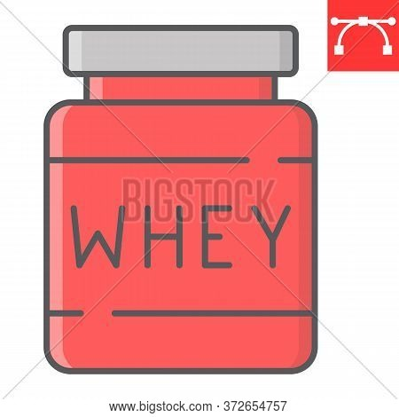 Whey Protein Color Line Icon, Fitness And Diet, Supplements Sign Vector Graphics, Editable Stroke Co