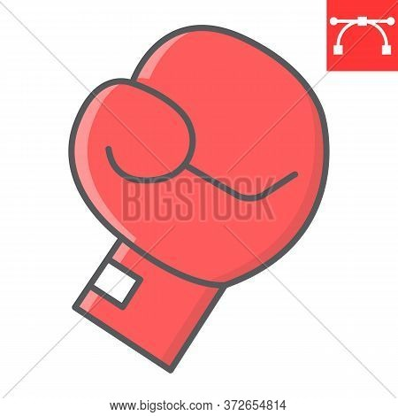 Boxing Glove Color Line Icon, Fitness And Sport, Boxing Sign Vector Graphics, Editable Stroke Colorf