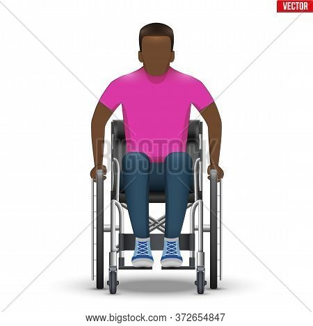Disabled Black Man In Wheelchair. Disability Man Sitting In Wheelchair And Hold Wheel. Front View. V