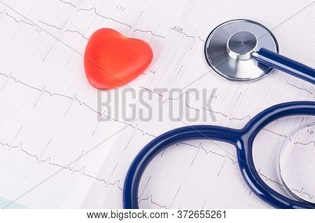 Red Heart And Stethoscope On Paper Research Result