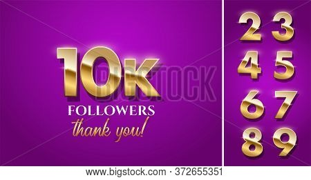 10000 Followers Celebration Vector Banner With Text And Numbers Set. Social Media Achievement Poster