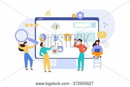 Verification Analysis Adaptive Website Design Concept. Programmers Developers Analyze Corporate Site