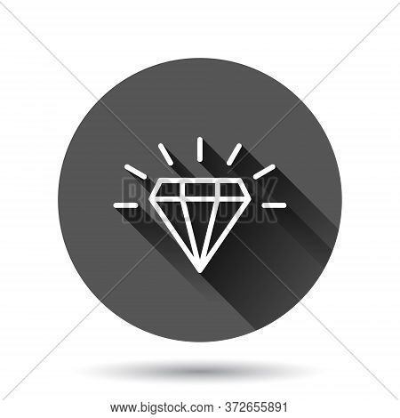 Diamond Gem Icon In Flat Style. Gemstone Vector Illustration On Black Round Background With Long Sha