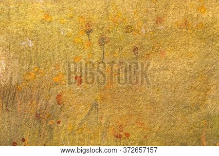Abstract Art Background Light Yellow And Orange Colors. Watercolor Painting On Canvas With Red Stain