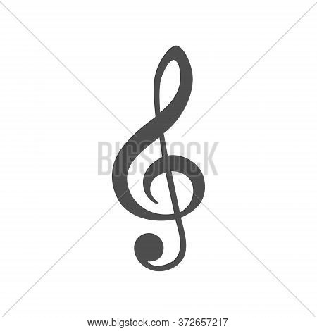 Music Treble Clef Icon Vector Illustration, Isolated On White Background