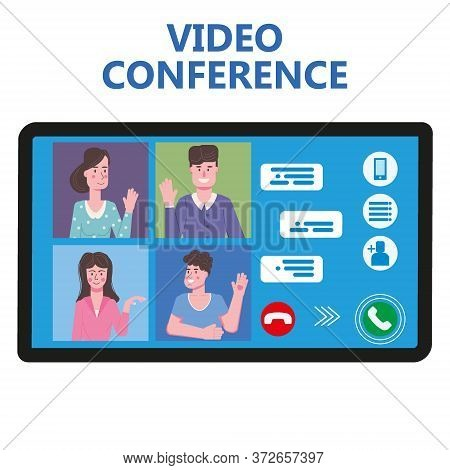 Video Conference People On Computer Screen Talking By Internet In Videocall, Chat, Ui, Ux. Online Me