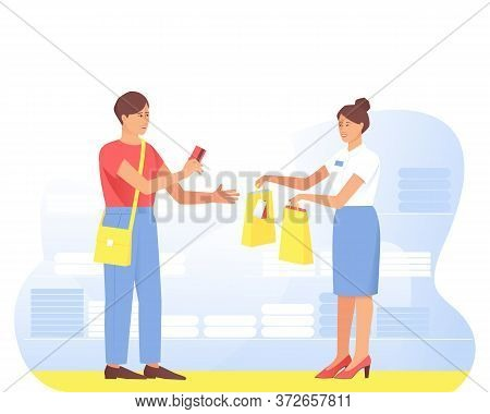 A Satisfied Buyer Makes A Purchase From The Seller In The Store. At The Clothing Store, The Buyer Pa
