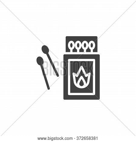 Open Matchbox With Matchsticks Vector Icon. Filled Flat Sign For Mobile Concept And Web Design. Matc