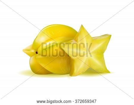 Vector Realistic Illustration Two Carambolas - Starfruits Isolated On White Background, 3d