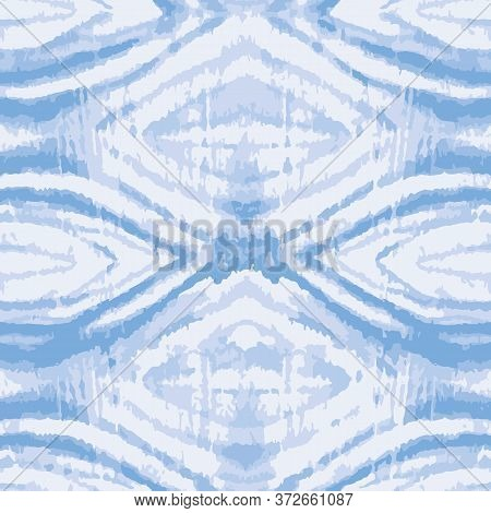 Blue Tie Dye Geoetrical Texture Seamless Vector Pattern. Hand Painted Shibori Print. Ink Indigo Text