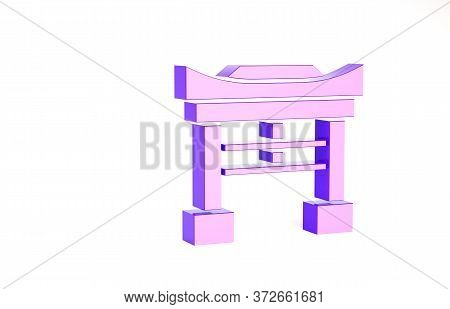 Purple Japan Gate Icon Isolated On White Background. Torii Gate Sign. Japanese Traditional Classic G