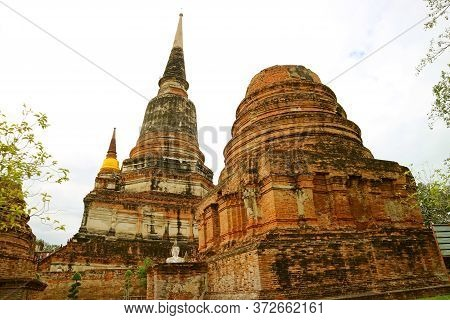 The Historic Ruins And The Main Stupa(chedi) Of Wat Yai Chai Mongkhon Temple, Archaeological Site In