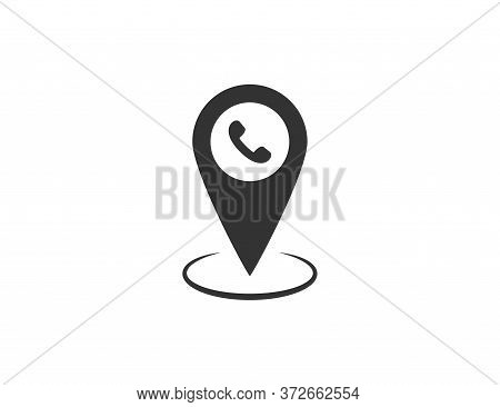 Map Pin With Phone Icon. Location Marker With Telephone Symbol. Isolated Position Pointer. Geo Pin W