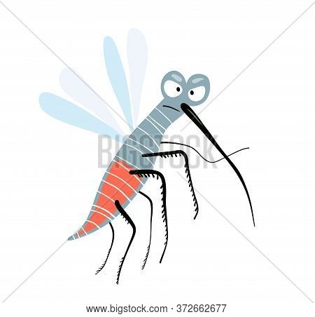 Funny Cute Angry And Silly Mosquito. Character Design, Cute Flying Insect Looking At You Angry, For