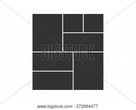Picture Frames. Square Photo Border In Rectangle. Image Blank Template. Simple Portfolio Poster. Alb