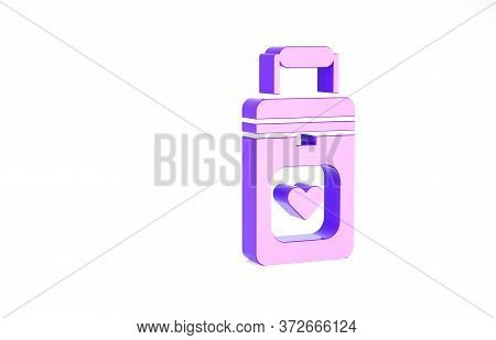 Purple Cooler Box For Human Organs Transportation Icon Isolated On White Background. Organ Transplan