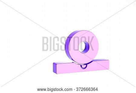 Purple Otolaryngological Head Reflector Icon Isolated On White Background. Equipment For Inspection