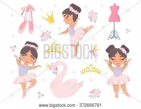 Seth Ballet. Beautiful Little Ballerinas, Princess Swan, Crown, Diadem, Pointe Shoes, Flowers, Manne