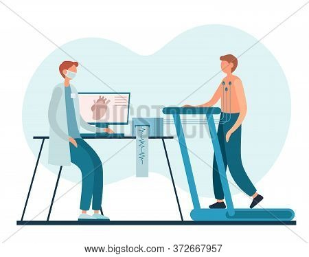 Cardiologist And Patient During Stress Test In Hospital