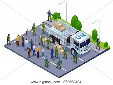 Peacekeepers Blue Helmets Delivered Humanitarian Aid To The City Center Illustration Isometric Icons