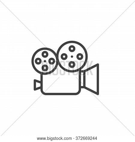 Video Camera Line Icon. Camcorder Linear Style Sign For Mobile Concept And Web Design. Cinema Camera