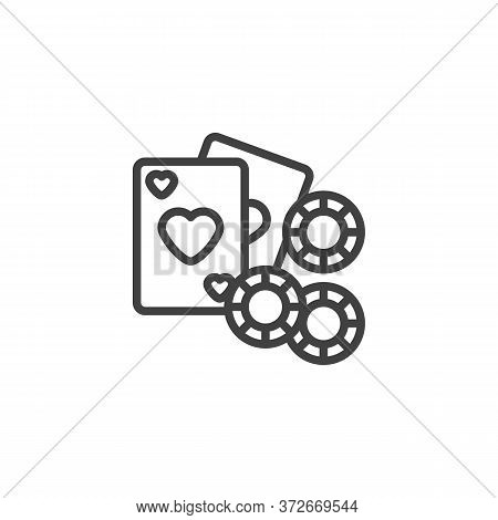 Gambling Chips And Playing Card Line Icon. Linear Style Sign For Mobile Concept And Web Design. Casi