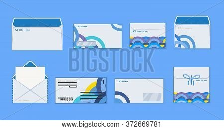 Corporate Identity Template White Envelopes Set. Blank Mockups Front Back Open Closed Transparent Wi