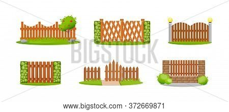 Wooden Decorative Fences Set. Outdoor Wooden Fence Architecture Elements. Home Protection, Boundary