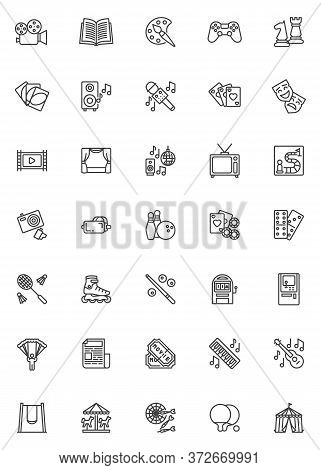 Entertainment And Recreation Line Icons Set. Linear Style Symbols Collection, Outline Signs Pack. Ve