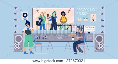 Recording Studio Flat Composition With Indoor View Of Music Record Label With Sound Engineer And Ban