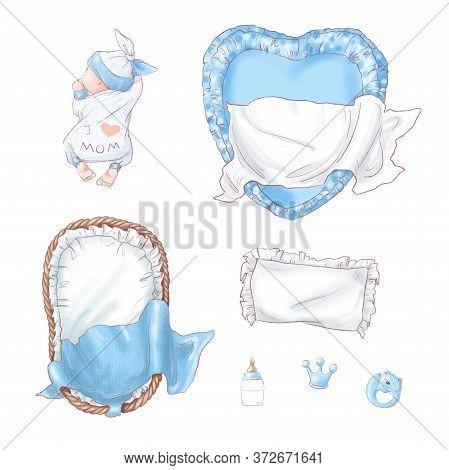 Set Of Newborn Baby Shower Birthday. Hand Drawing