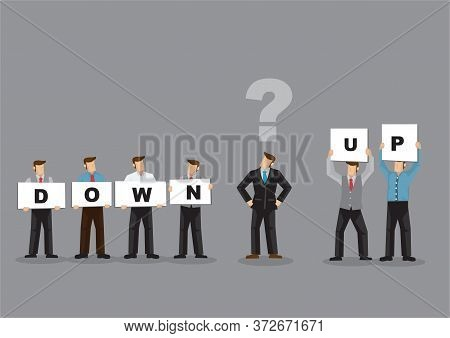 Business Man Cannot Decide The Suggestion He Has. Business Concept In Vector.