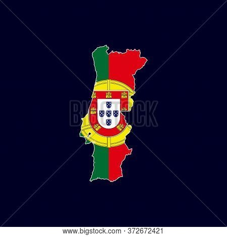 Porutguse Map With Flag Vector Isolated On Dark Background. Porutguse Map. Portugal Map Vector. Poru