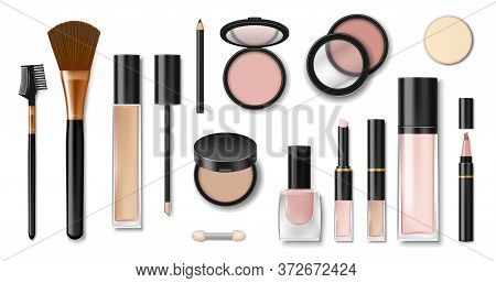 Set Of Realistic Cosmetic Makeup Products. Blank Template Of Containers For Face Cosmetic, Eyeshadow