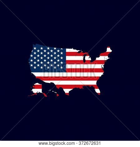 Usa Map With Flag Vector Isolated On Dark Background. United States Map. United States Of America Ma