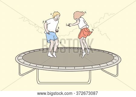Recreation, Fun, Jumping Children Concept. Cartoon Characters Young Happy Boy Girl Brother Sister Ki