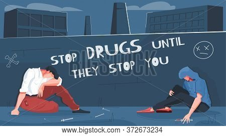 Drug Addiction Flat Composition With Backstreet Scenery Cityscape Background And Human Characters Wi