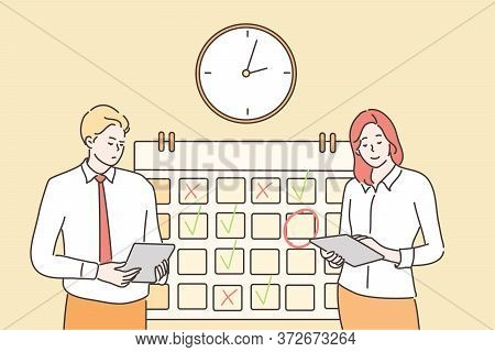 Time Management, Multitasking, Planning Teamwork, Business Concept. Businessman Woman Manager Stand