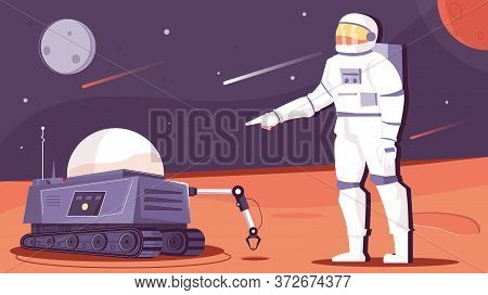 Robot Space Flat Composition With Extraterrestrial Scenery And Automated Mars Rover With Astronaut C