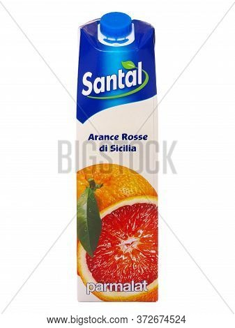 Bucharest, Romania - December 6, 2016. Pack Of Santal Sicilian Red Orange Juice Isolated On White, P