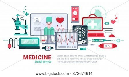 Flat Digital Medicine White Background Or Banner With Digital Devices And Tools Vector Illustration