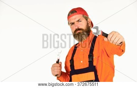 Wrench Tool. Decent Choice For All Around Versatility. Mechanic With Spanner. Man Hold Wrench Tools