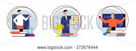 Collection Of Round Tutoring Compositions With Characters Of Teachers With Books Trophies And Online