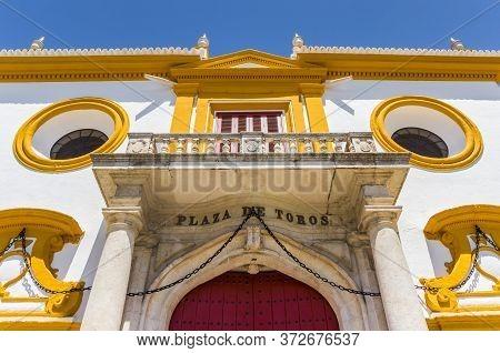 Main Entrance Of The Historic Bullring In Sevilla, Spain