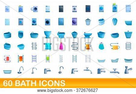 60 Bath Icons Set. Cartoon Illustration Of 60 Bath Icons Vector Set Isolated On White Background