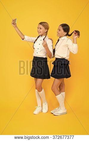 Personal Blog. Girls School Uniform Take Selfie Smartphone. Take Perfect Photo. Girls Just Want To H